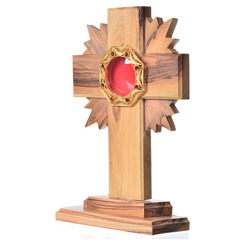Monstrance H15cm in olive wood with rays, octagonal display 800 2
