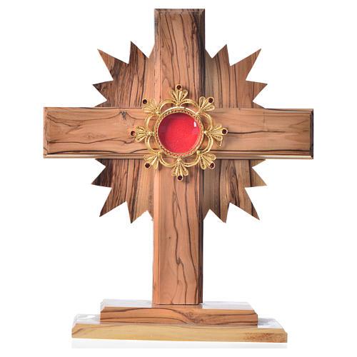 Relicario olivo 20cm, cruz con rayos custodia plata 800 1