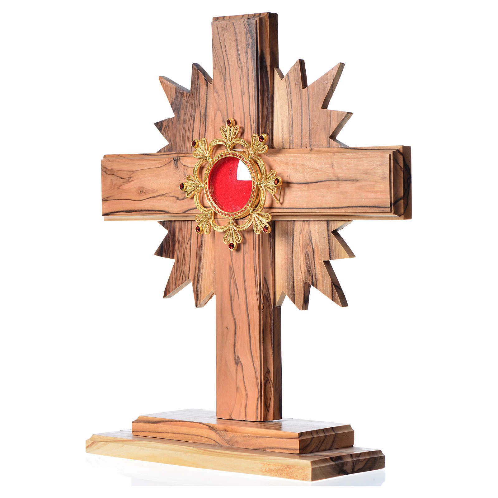 Monstrance H29cm in olive wood cross with rays, display in 800 s 4
