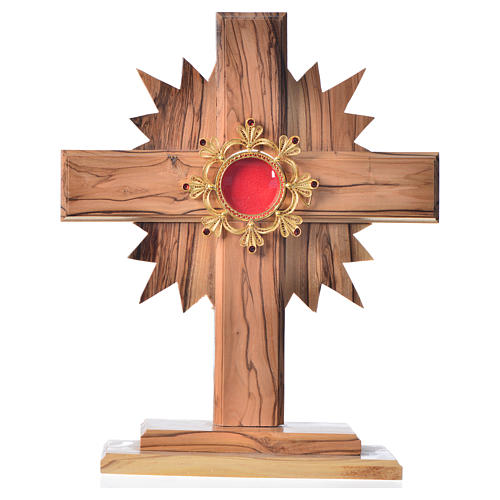 Monstrance H29cm in olive wood cross with rays, display in 800 s 1