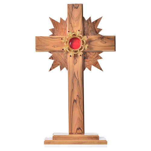 Reliquary olive wood with halo cross, silver 800 shrine 1