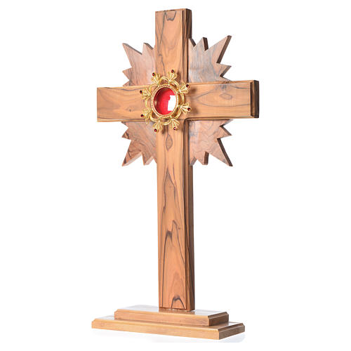 Reliquary olive wood with halo cross, silver 800 shrine 2