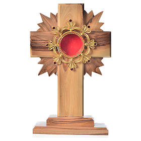 Monstrance in olive wood with rays, 15cm 800 silver display s1