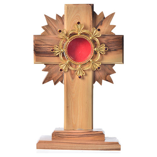 Monstrance in olive wood with rays, 15cm 800 silver display 1