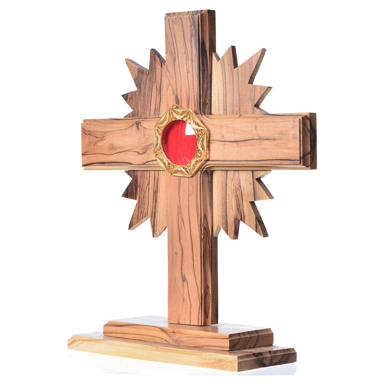 Relicario olivo 20cm, cruz con rayos custodia plata 800 octagona 4