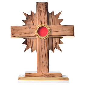 Relicario olivo 20cm, cruz con rayos custodia plata 800 octagona s1