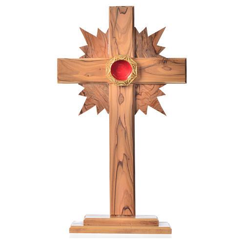 Relicario olivo 29cm, cruz con rayos custodia plata 800 octagona 1