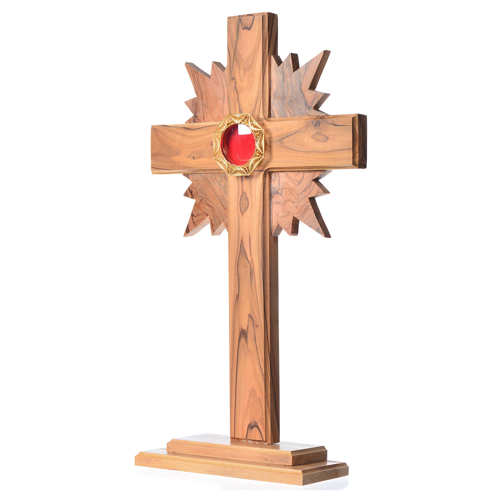 Monstrance in olive wood cross with rays, 29cm octagonal 800 sil 4