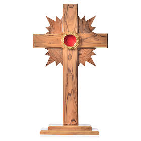 Monstrance in olive wood cross with rays, 29cm octagonal 800 sil s1