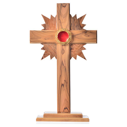Monstrance in olive wood cross with rays, 29cm octagonal 800 sil 1