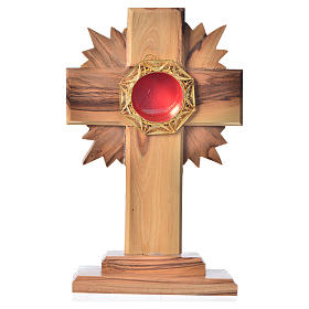 Monstrance in olive wood with rays, 15cm octagonal 800 silver di s1