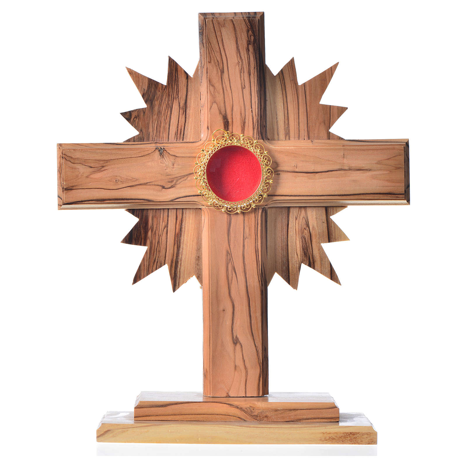 Monstrance in olive wood with rays, 20cm round golden 800 silver 4