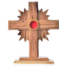 Monstrance in olive wood with rays, 20cm round golden 800 silver s1