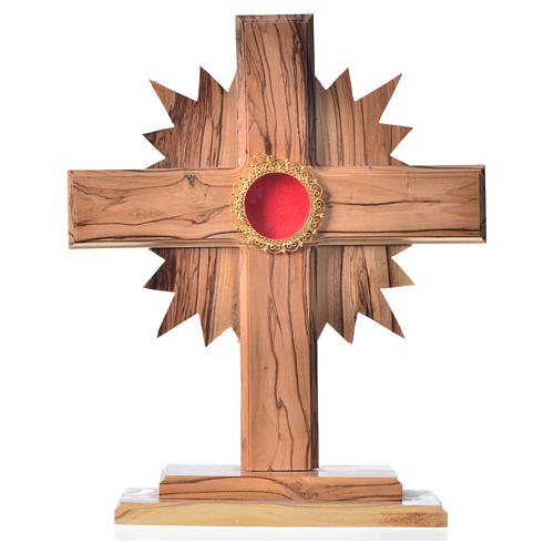 Monstrance in olive wood with rays, 20cm round golden 800 silver 1