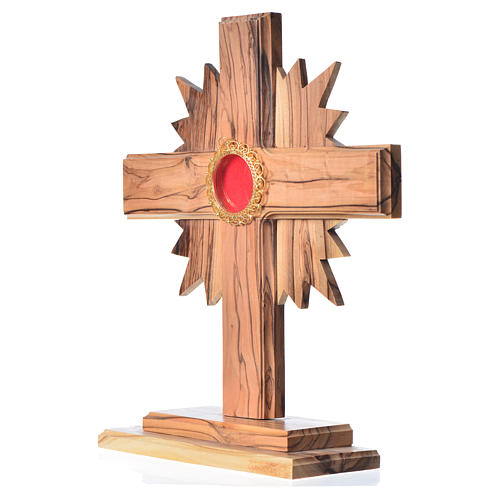 Monstrance in olive wood with rays, 20cm round golden 800 silver 2