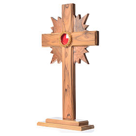 Monstrance in olive wood with rays, 29cm round golden 800 silver s2