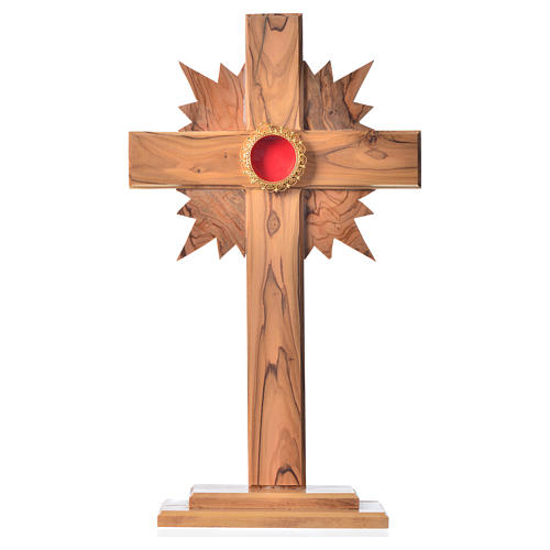 Monstrance in olive wood with rays, 29cm round golden 800 silver 1