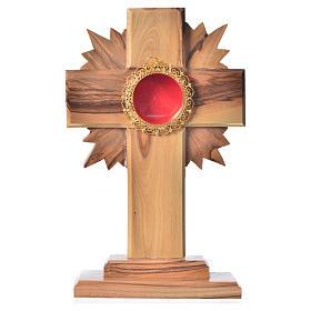 Relicario olivo 15cm, cruz con rayos custodia plata 800 redonda s1