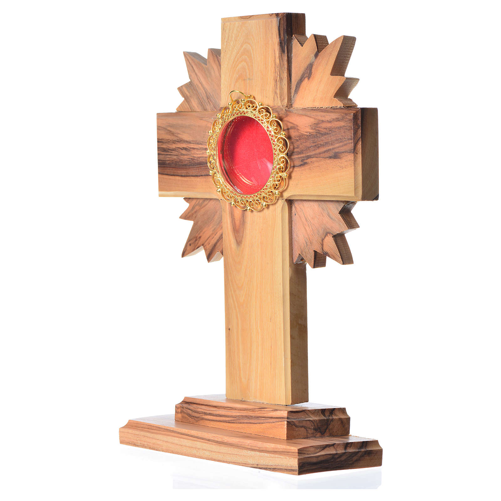 Monstrance in olive wood with rays, 15cm round golden 800 silver 4