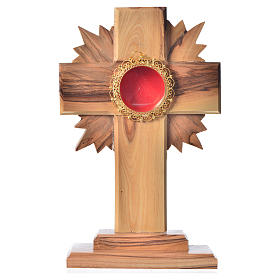 Monstrance in olive wood with rays, 15cm round golden 800 silver s1