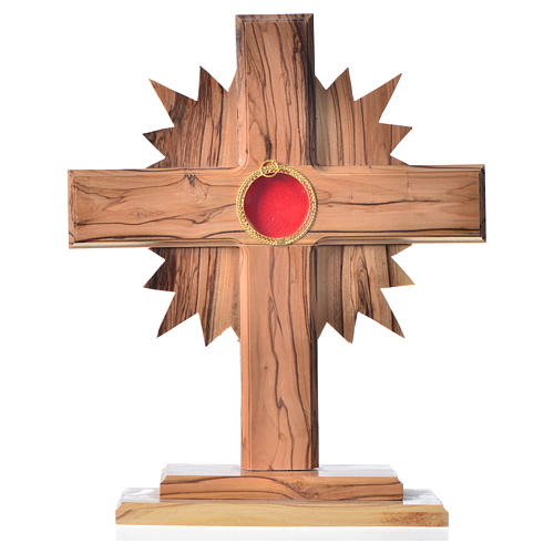 Monstrance in olive wood cross with rays, 20cm round 800 silver 1