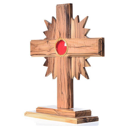 Monstrance in olive wood cross with rays, 20cm round 800 silver 2