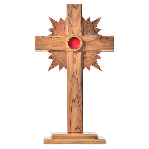 Relicario madera olivo cruz 29 cm vidrio redondo plata 800 1