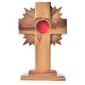 Monstrance in olive wood with rays, 15cm round 800 silver displa s1