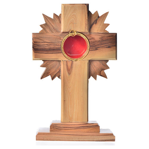 Monstrance in olive wood with rays, 15cm round 800 silver displa 1