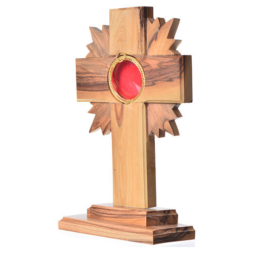 Monstrance in olive wood with rays, 15cm round 800 silver displa 2