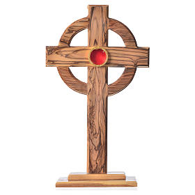 Monstrance in olive wood with rays, 29cm round 800 silver displa s1
