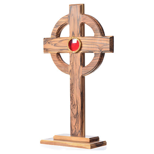 Monstrance in olive wood with rays, 29cm round 800 silver displa 2