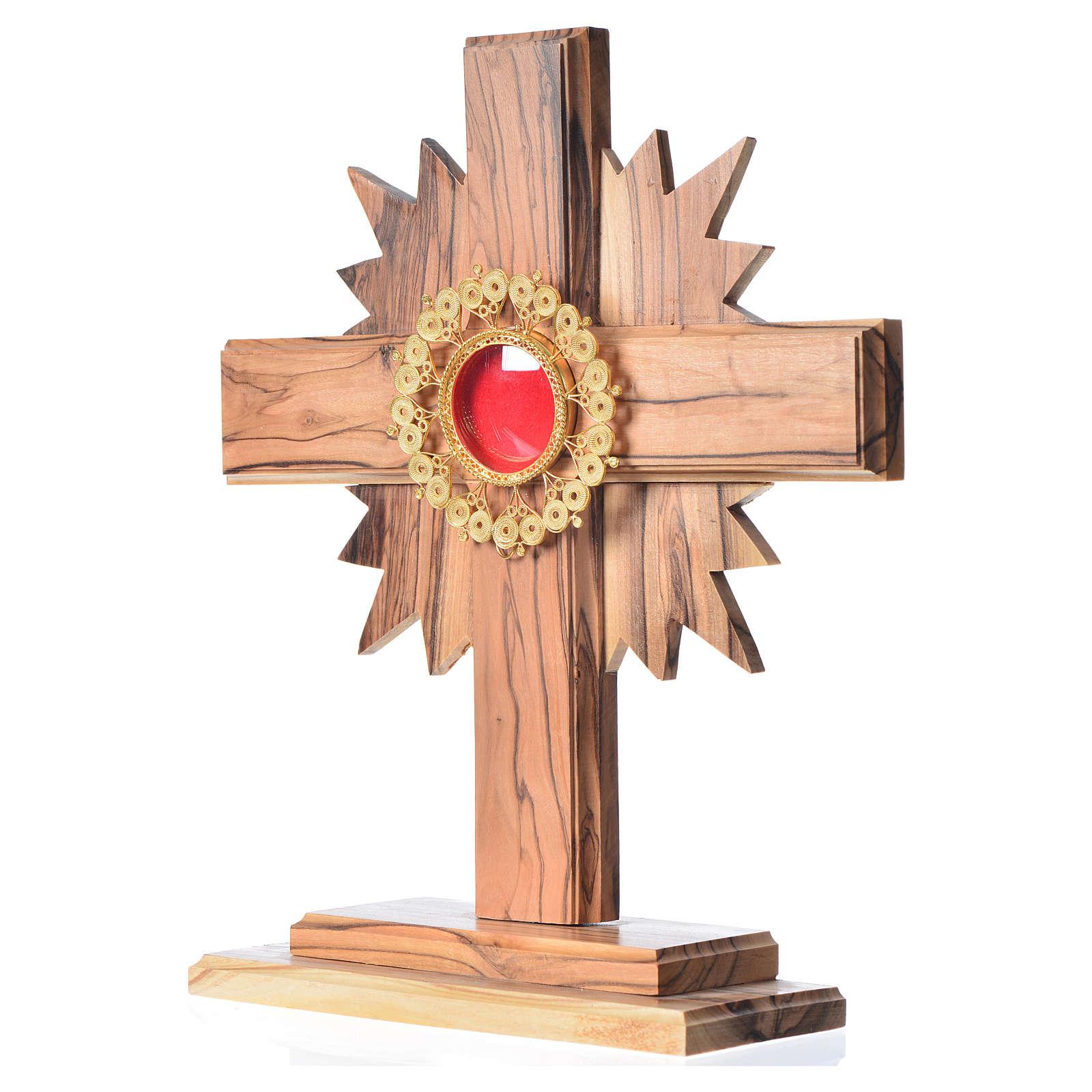 Relicario olivo con cruz y rayos custodia de filigrana plata 800 4