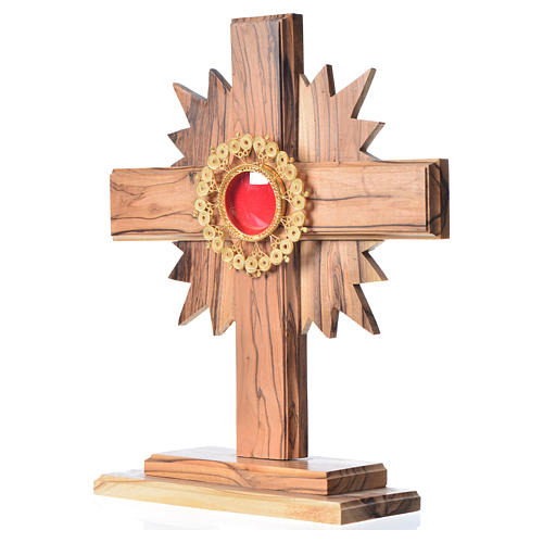 Relicario olivo con cruz y rayos custodia de filigrana plata 800 2