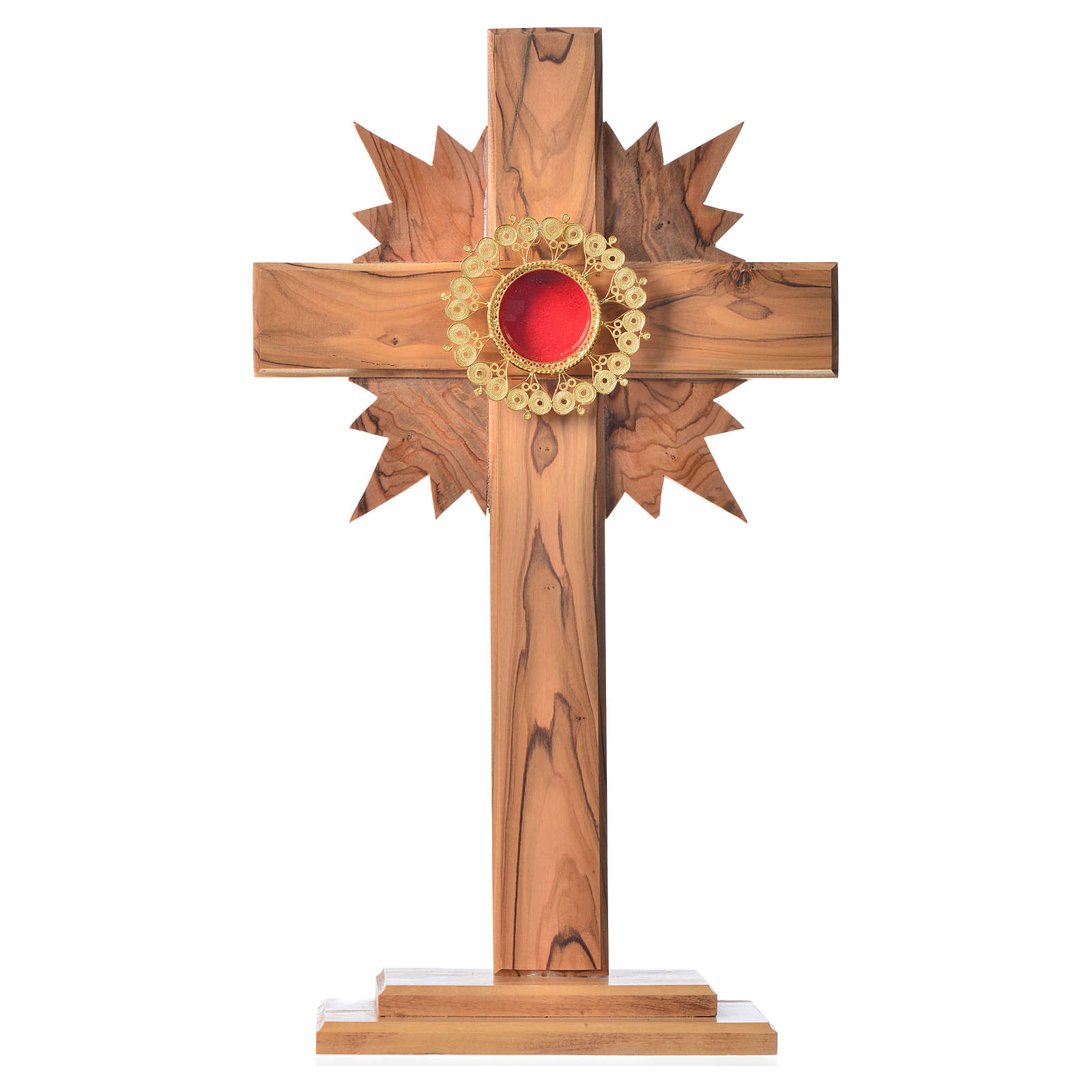 Reliquary olive wood with cross halo, filigree shrine 4