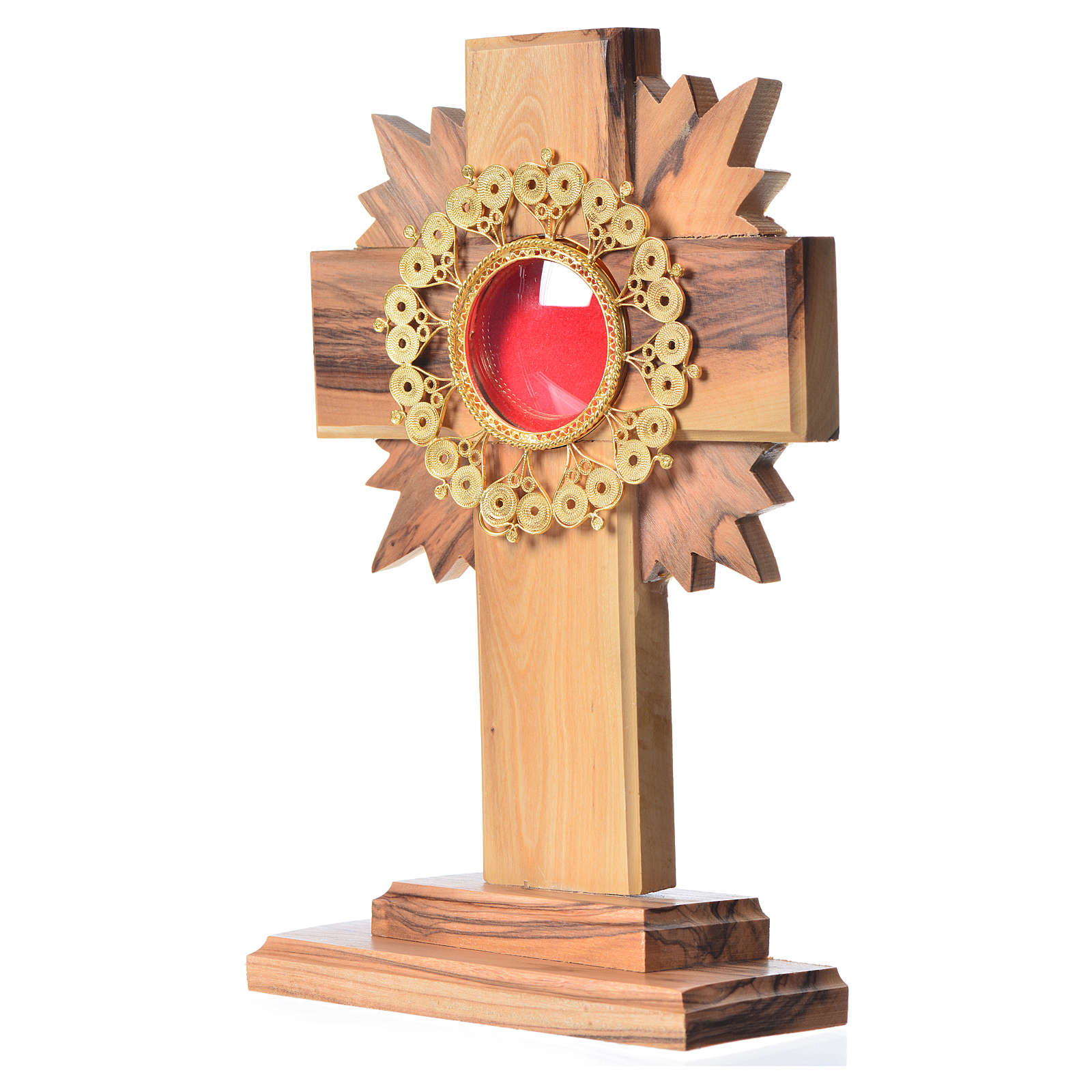 Monstrance in olive wood cross with rays, 15cm 800 silver filigr 4