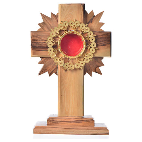 Monstrance in olive wood cross with rays, 15cm 800 silver filigr 1