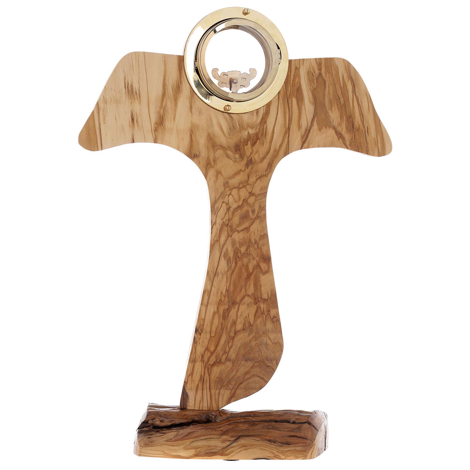 Ostensorio Tau legno olivo stagionato diam 9 cm 4