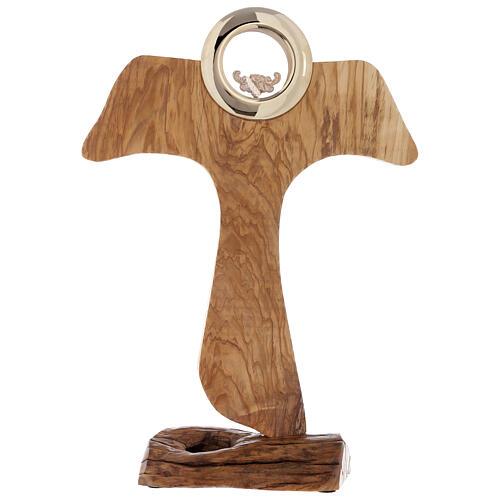 Ostensorio Tau legno olivo stagionato diam 9 cm 1