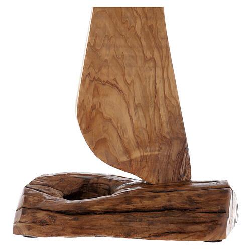 Ostensorio Tau legno olivo stagionato diam 9 cm 3