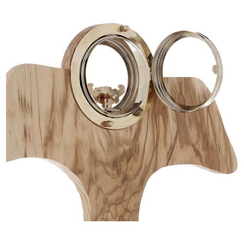 Ostensorio Tau legno olivo stagionato diam 9 cm 6