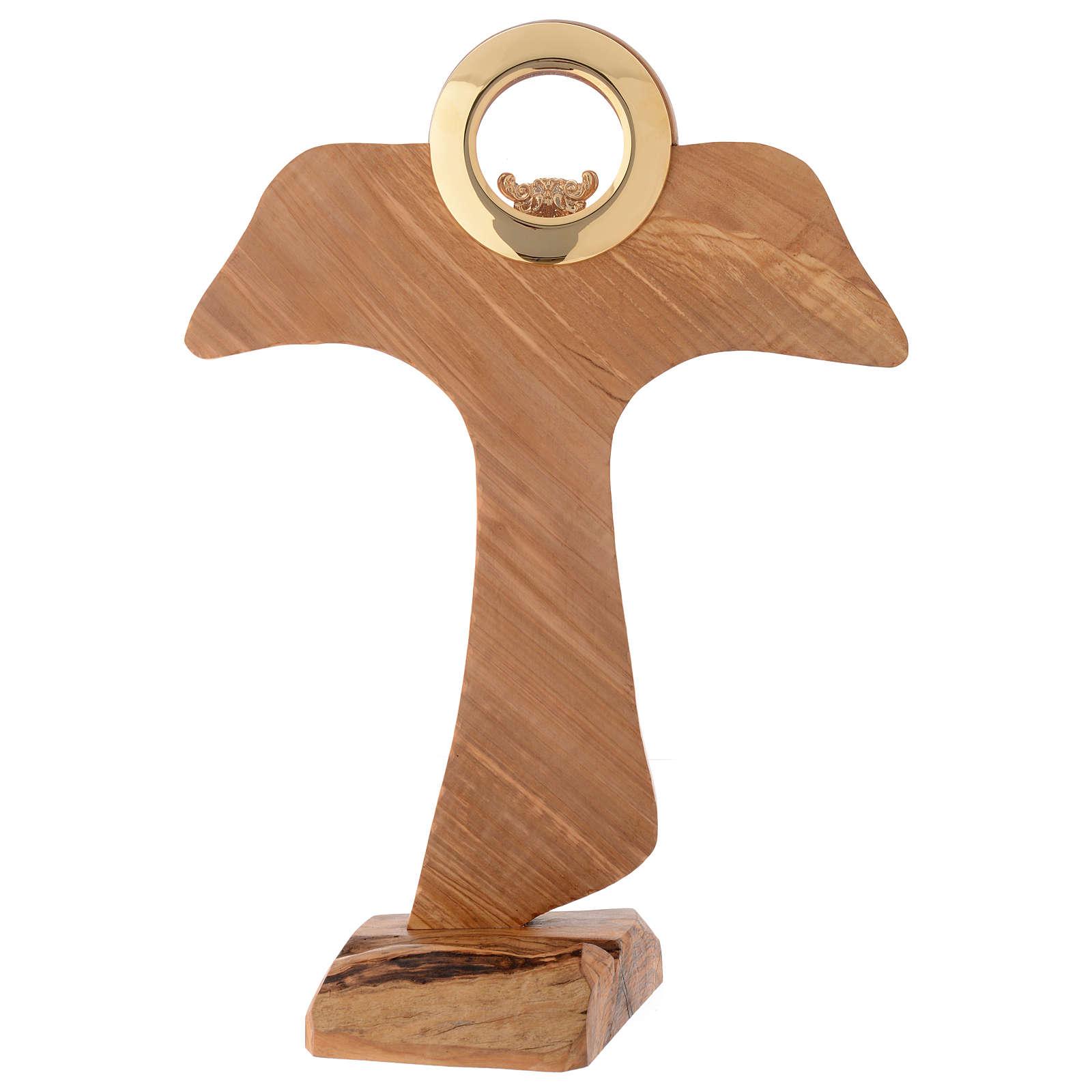 Ostensório Tau madeira oliveira sazonada diâmetro 9 cm 4
