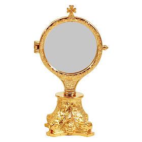 Relicario exposición con base capitel dorado h. 17,5 cm s1