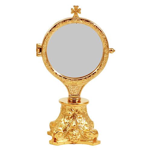 Relicario exposición con base capitel dorado h. 17,5 cm 1