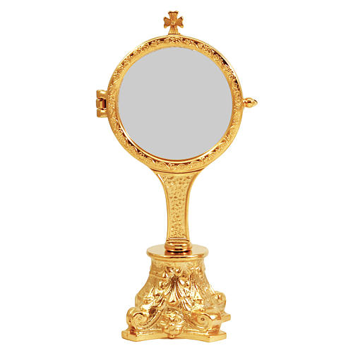 Golden monstrance with decorative capital as base, h. 20 cm 1