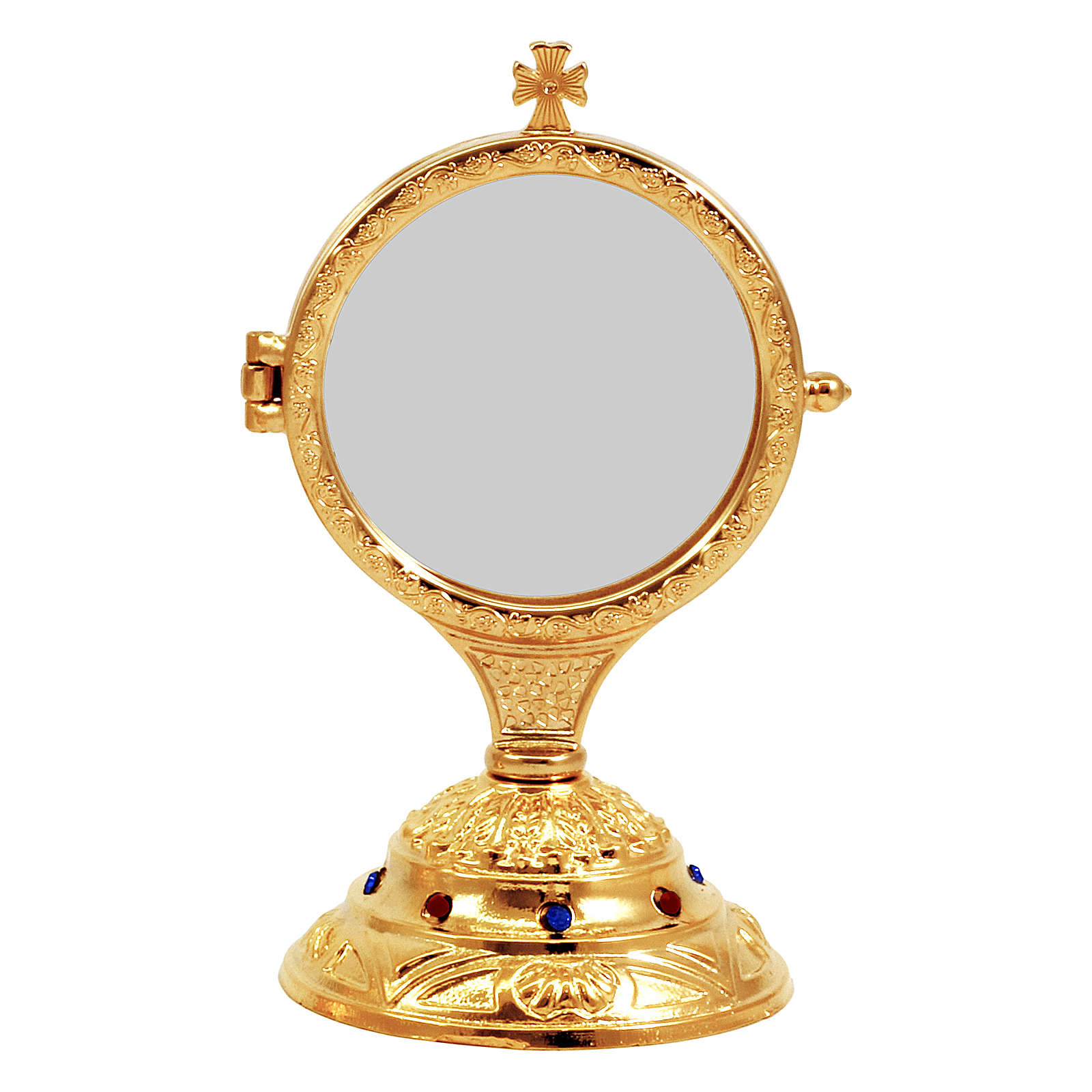 Golden monstrance with decorative stones on the base, h. 15 cm 4