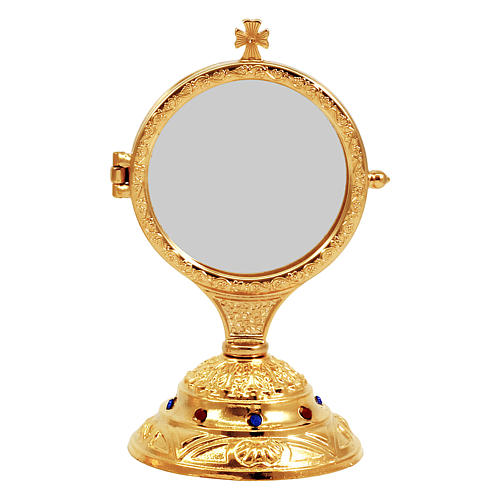 Golden monstrance with decorative stones on the base, h. 15 cm 1