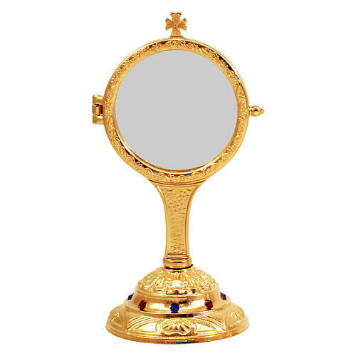 Gold plated monstrance with casted base and stones h 7 in 1