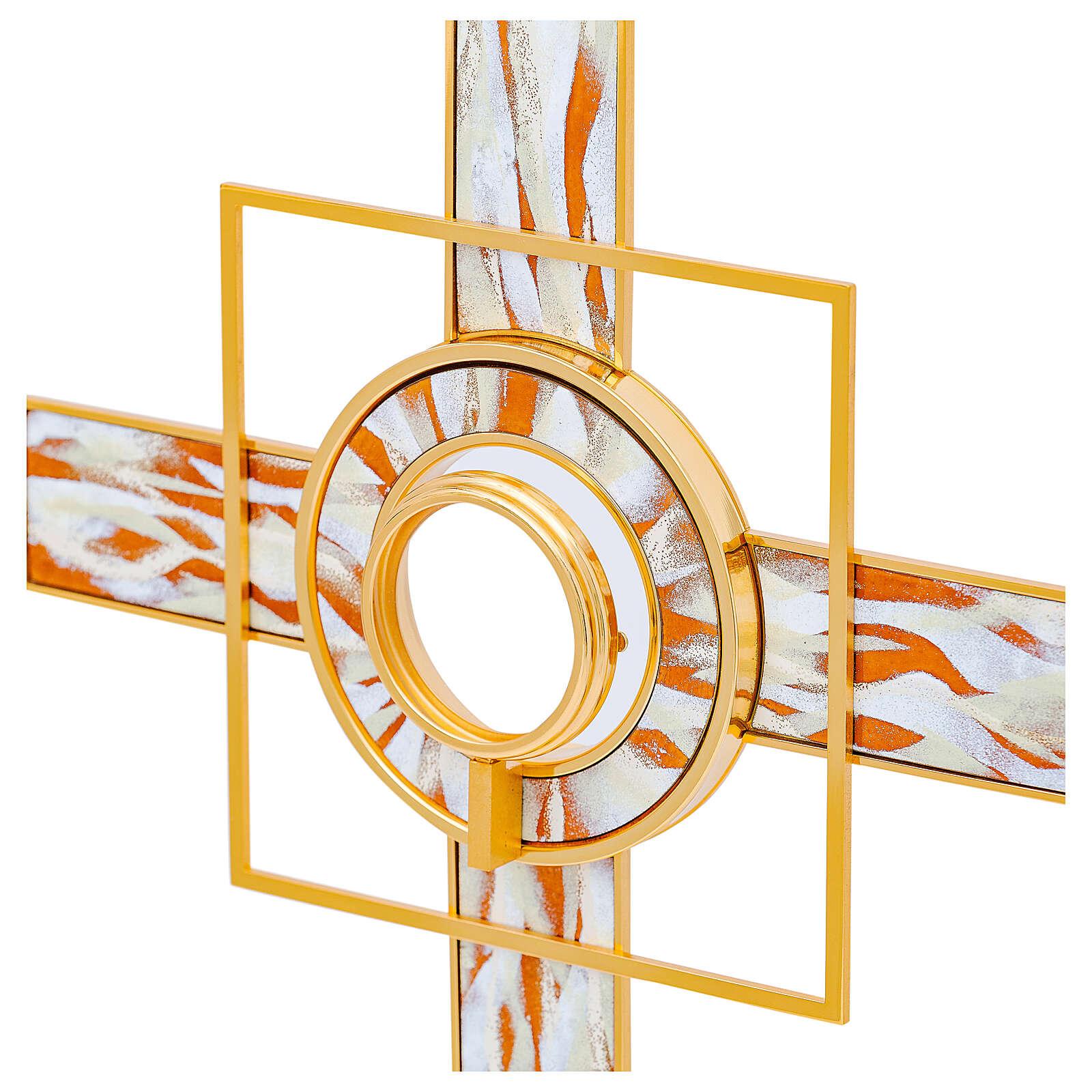 Ostensorio rayos esmaltados blancos relicario amovible 65 cm latón dorado 4