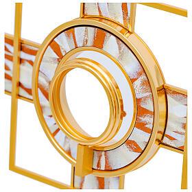 Ostensorio rayos esmaltados blancos relicario amovible 65 cm latón dorado s2